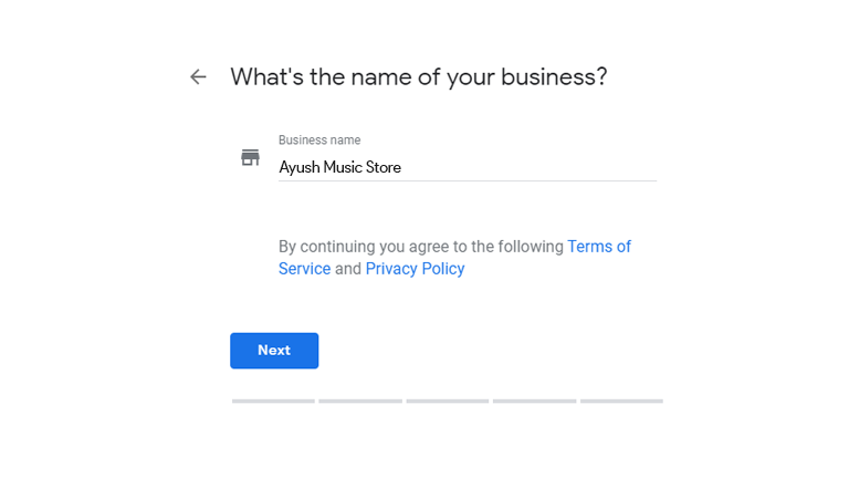 type your business name in google my business profile