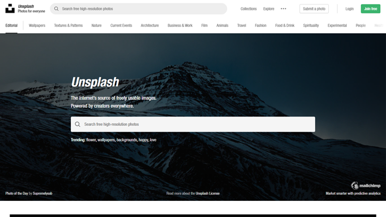 Unsplash- social media marketing tool