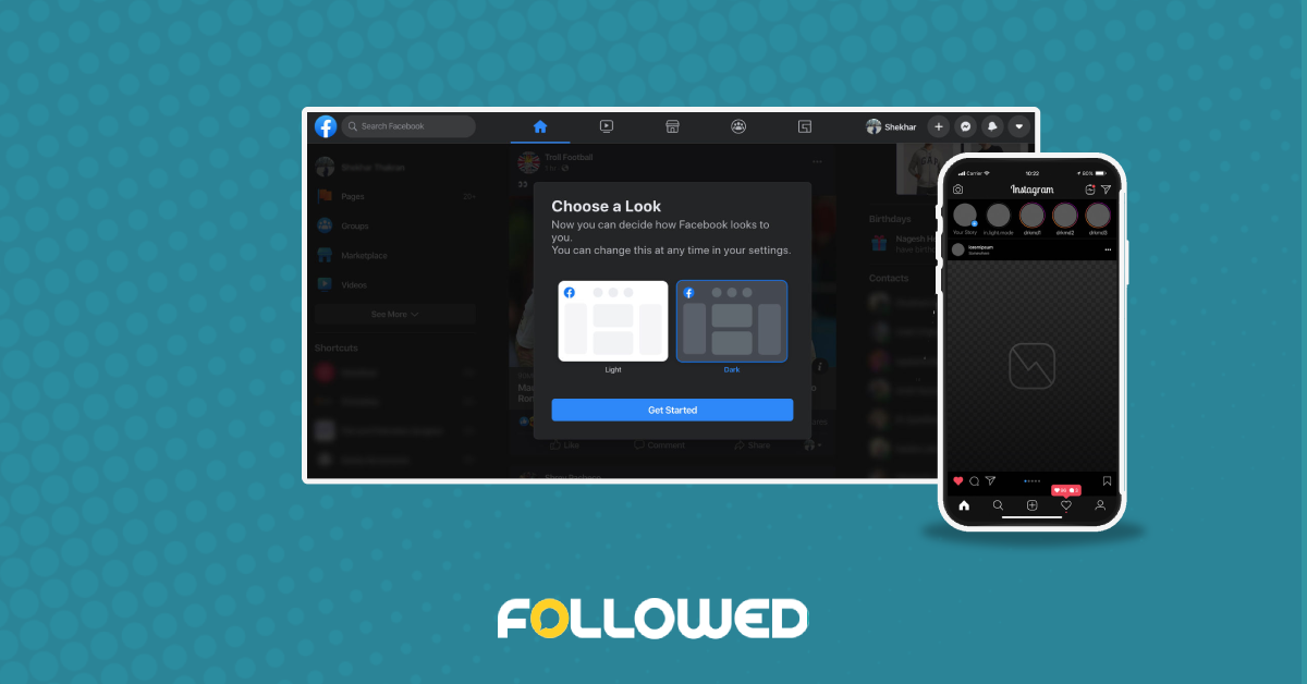 how to enable dark mode on Instagram and Facebook