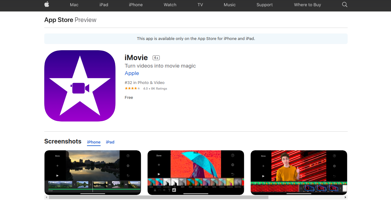 iMOVIE APP - youtube banner maker